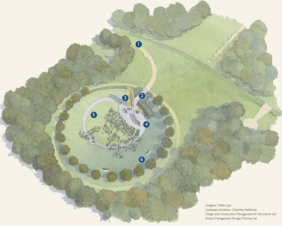 Walter Jack concept drawing for the new police memorial at the National Arboretum