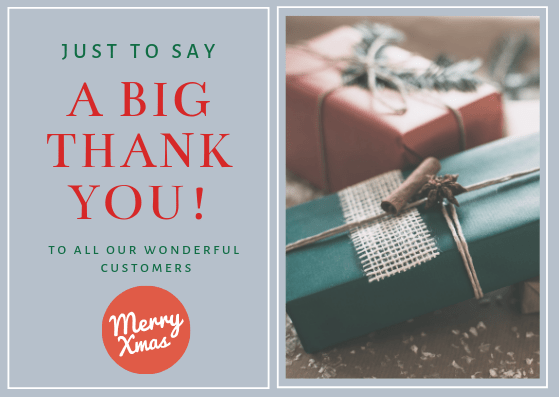 use a greeting card to say thanks as part of your Christmas marketing
