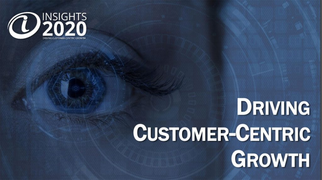 Image of an eye with the text Driving Customer-Centric Growth from a survey about marketing insight