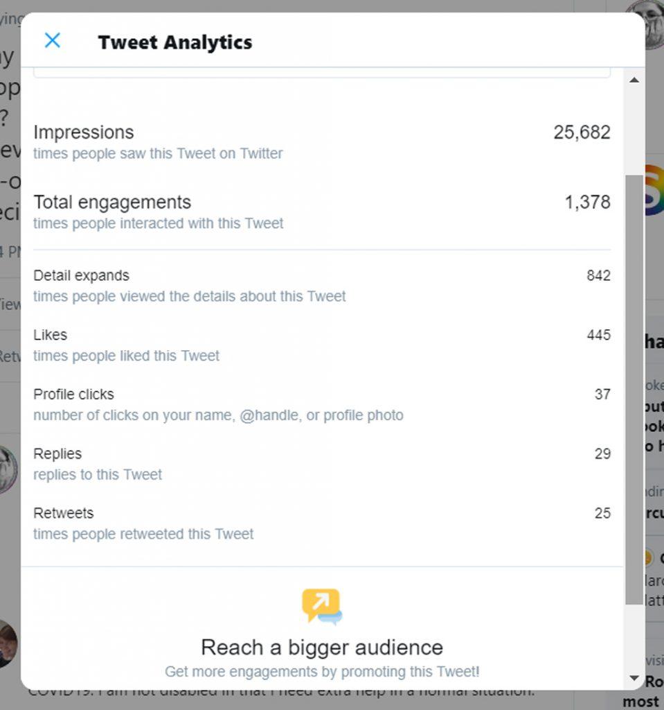 a screenshot of the analytics of a Tweet