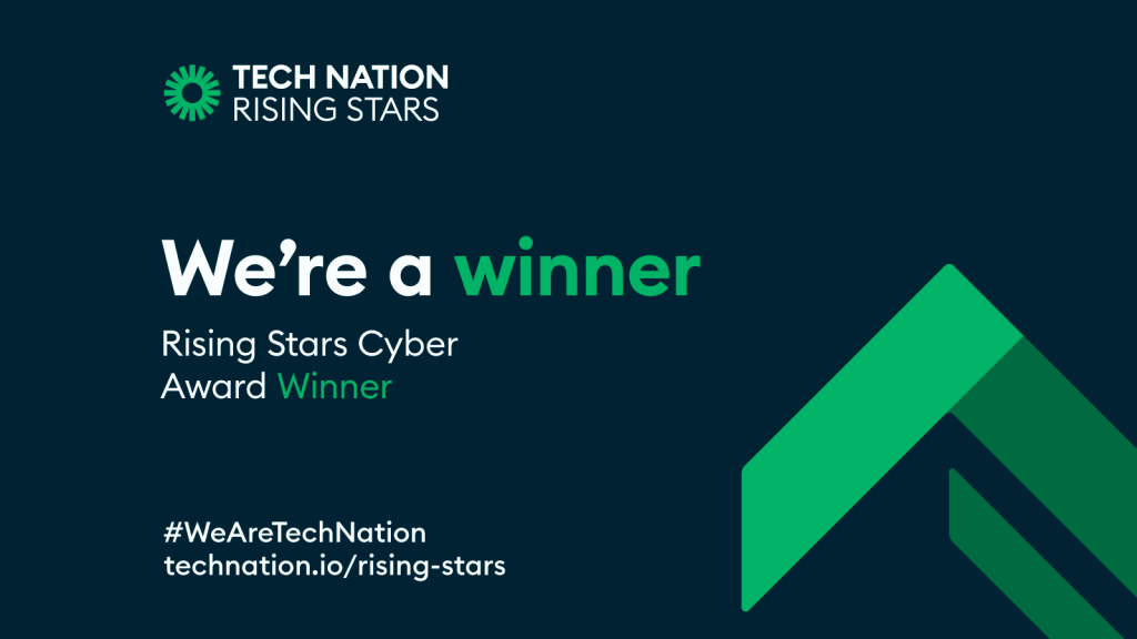 "image shows a card with the words ""we're a winner"" rising stars 3.0 cyber award winner"
