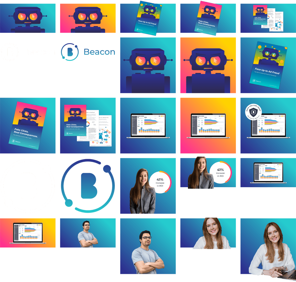 image shows a number of different dynamic advertising images including both text and people with the Beacon logo