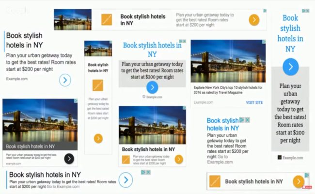 photo shows a number of different sized adverts for New York City breaks with images of the Brooklyn Bridge and text headlines